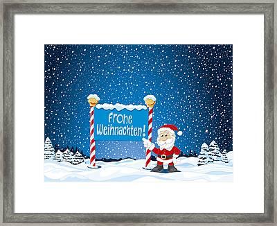 Frohe Weihnachten Sign Santa Claus Winter Landscape Framed Print