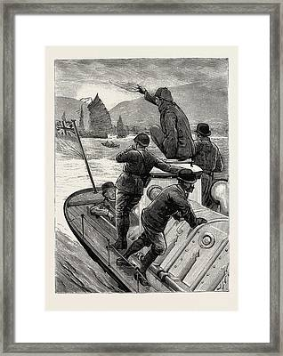 From Hong Kong To Macao In A Torpedo Boat, The Start Framed Print by English School