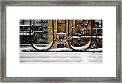 From My Fire Escape - Arches In The Snow Framed Print by Miriam Danar