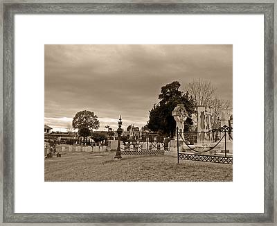 From One Headstone To Another.......shhhh Framed Print