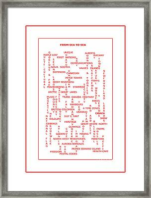 From Sea To Sea Canada Crosswords Red Framed Print by Barbara Griffin