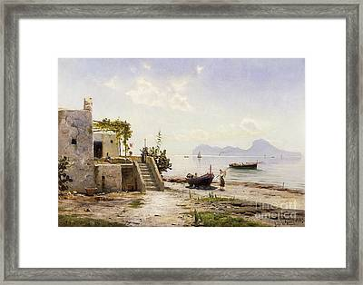 From Sorrento Towards Capri Framed Print by Peder Monsted