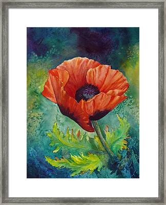 Framed Print featuring the painting From The Poppy Patch by Karen Mattson