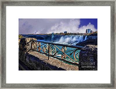 From The Rail-niagara Falls Framed Print