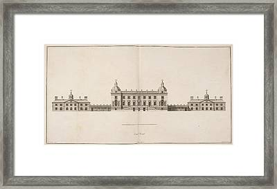 Front Elevation Of Houghton Hall Framed Print by British Library