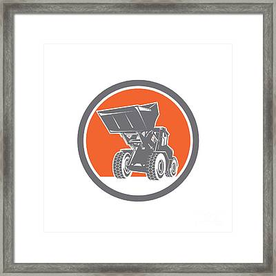 Front End Loader Digger Excavator Circle Retro Framed Print by Aloysius Patrimonio