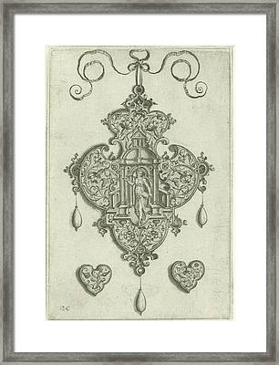 Front Of A Pendant Pendeloque, In The Center A Niche Framed Print by H. Collaert