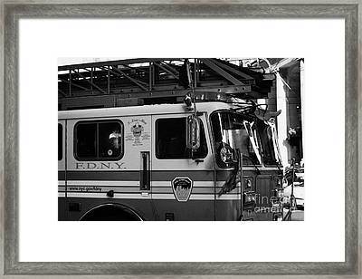 front of FDNY fire engine new york city Framed Print