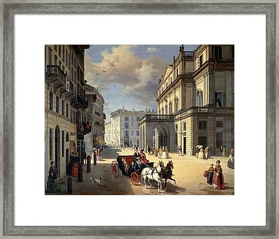 Front Of La Scala Theatre, 1852 Oil On Canvas Framed Print