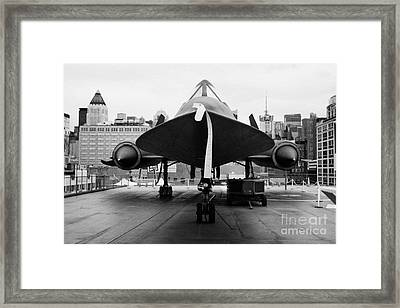 front of Lockheed A12 Blackbird on display on the flight deck at the Intrepid Sea Air Space Museum Framed Print by Joe Fox