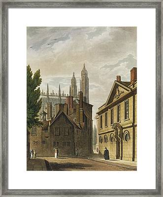 Front Of Trinity Hall, Cambridge Framed Print by Augustus Charles Pugin