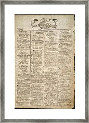 Front Page Of The Times Framed Print