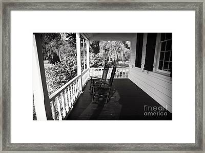 Front Porch Chairs Framed Print by John Rizzuto