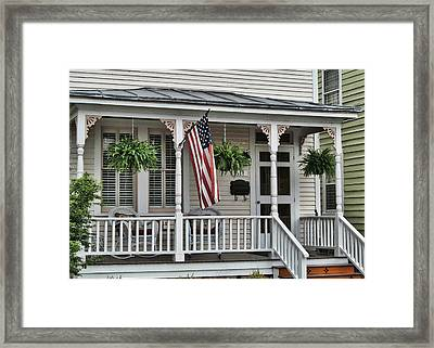 Front Porch Flag Framed Print by Victor Montgomery