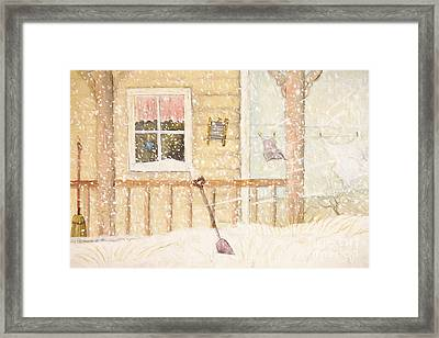 Front Porch In Snow With Clothesline/ Digital Watercolor Framed Print by Sandra Cunningham
