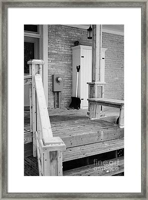 front porch of a house cleared of snow during winter in Forget Saskatchewan Canada Framed Print by Joe Fox