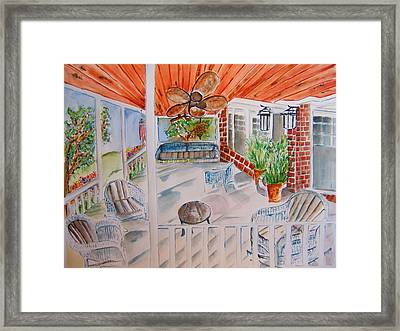 Front Porch Sitting Framed Print by Elaine Duras
