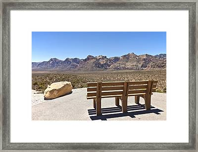 Front Row Seat Looking At The Landscape Red Rock Canyon Nevada. Framed Print by Gino Rigucci