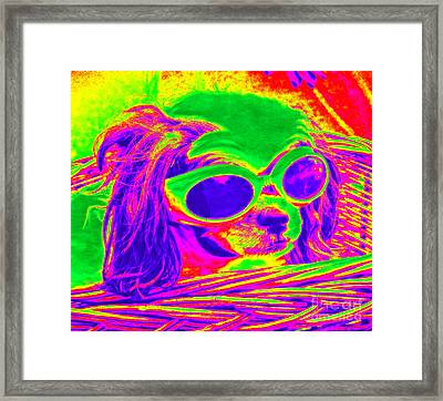 Front Seat Driver Pop Art - Puppy Mania Framed Print by Ella Kaye Dickey