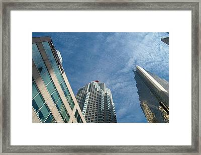 Front Stree Down Town Toronto Sky View Through The Hotels Skyscraper Condo  Housing Buildings Water  Framed Print by Navin Joshi