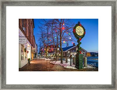Front Street Holiday Scene Framed Print by Benjamin Williamson