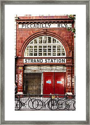 Front To The Disused Strand Underground Station On The Piccadill Framed Print