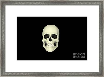 Front View Of Human Skull Framed Print by Stocktrek Images