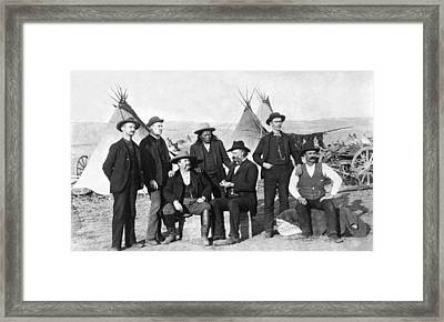 Frontier Men At An Indian Camp Framed Print