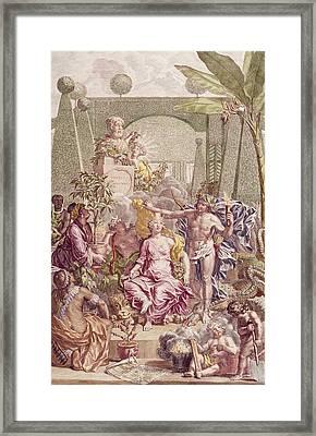 Frontispiece Of Hortus Cliffortianus Framed Print by Jan Wandelaar