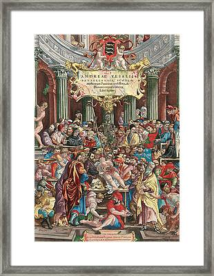 Frontispiece To De Humani Corporis Fabrica Libri Septem Framed Print by Venetian School