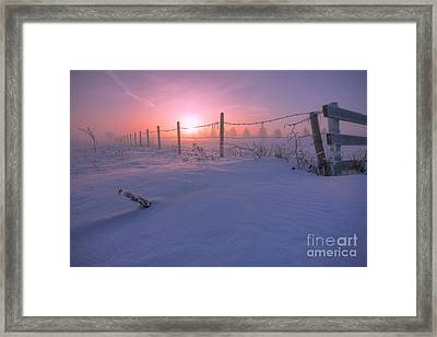 Frost And Fenceline Framed Print