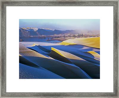 Frost And Sunlight Decorate The Sand Framed Print by Robert L. Potts
