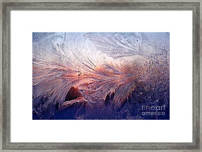 Frost On A Windowpane At Sunrise Framed Print