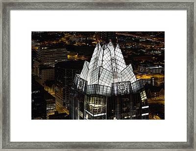 The Austin Skyline And The Iconic Frost Tower Framed Print by Rob Greebon