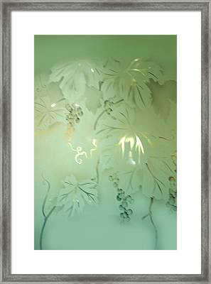 Frosted Green Grapes With Leaves Framed Print by Linda Phelps