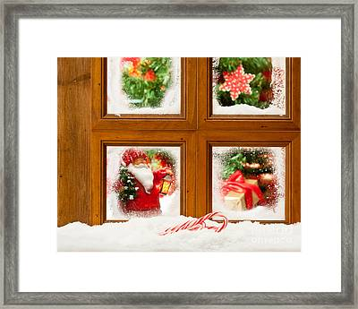 Frosty Christmas Window Framed Print by Amanda Elwell