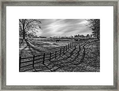 Frosty Corral At Dawn Framed Print