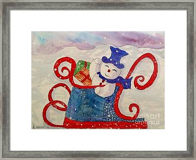 Frosty In His Sleigh2 Framed Print