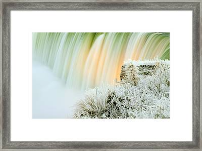 Niagara Falls Illuminated With Winter Frost Framed Print by Charline Xia