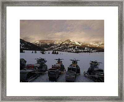 Frosty Snowmobiles Framed Print by Jenessa Rahn