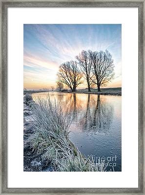 Frosty Sunrise On The Old West River Cambridgeshire 1 Framed Print by Julian Eales