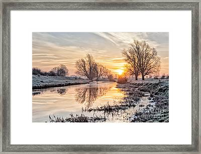 Frosty Sunrise On The Old West River Cambridgeshire 3 Framed Print by Julian Eales