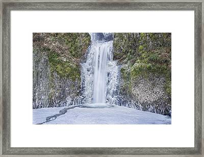 Frozen At Multnomah Falls Framed Print by David Gn