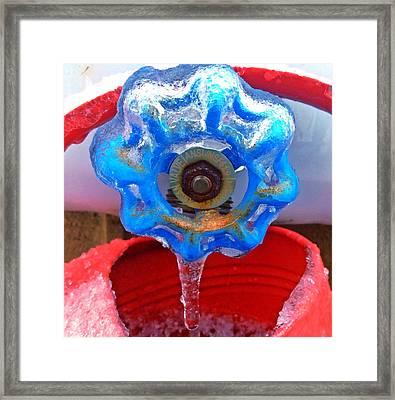 Frozen Blue Water Faucet Framed Print