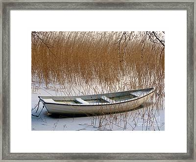 Frozen Boat Framed Print