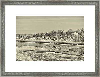 Frozen Boathouse Row In Sepia Framed Print by Bill Cannon