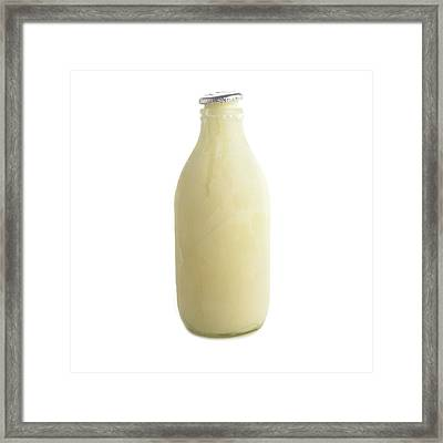 Frozen Bottle Of Milk Framed Print by Science Photo Library