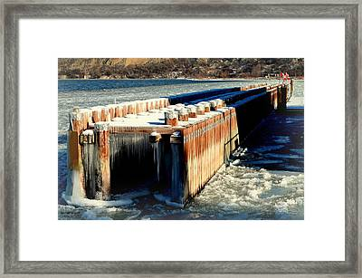Frozen Breakwater Framed Print