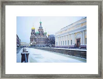 Frozen Canal Near Church Of The Savior Framed Print by Jacobs Stock Photography Ltd