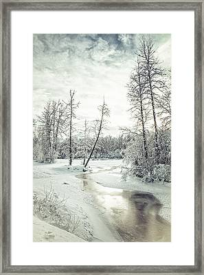 Frozen Creek At Sunset Framed Print